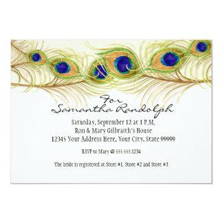 Modern Swirl Peacock Feathers Bridal Shower Invite