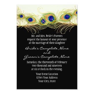Modern Swirl Peacock Feathers Monogram Monogrammed 5x7 Paper Invitation Card