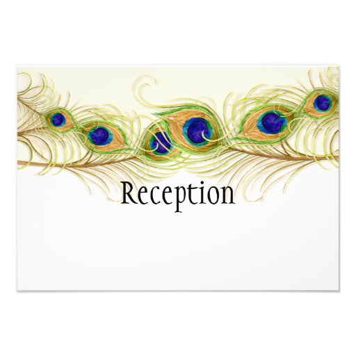 Modern Swirl Peacock Feathers Monogram Monogrammed Personalized Invite