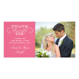 Modern Swirl Pink Wedding Photo Thank You Cards