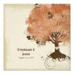 "Modern Swirl Scroll Tree of Life Fall Autumn Leaf 5.25"" Square Invitation Card"