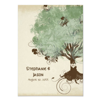 Modern Swirl Scroll Tree of Life Spring Summer Art Card