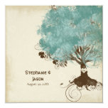 "Modern Swirl Scroll Tree of Life Spring Summer 5.25"" Square Invitation Card"