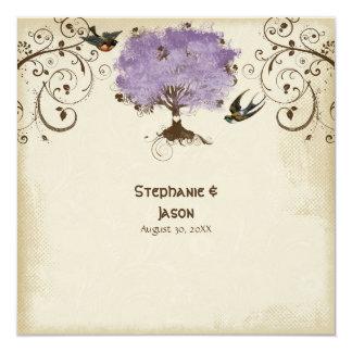 Modern Swirl Scroll Tree of Life Spring Summer 5.25x5.25 Square Paper Invitation Card