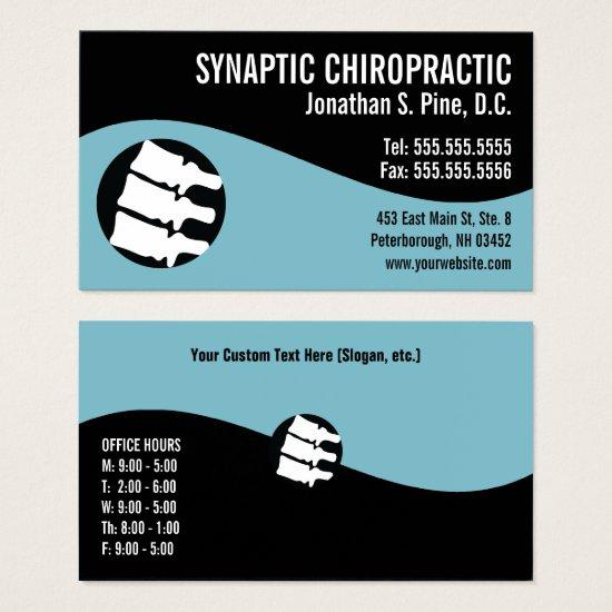 Modern Swirl Spine Blue Office Hours Chiropractor Business Card