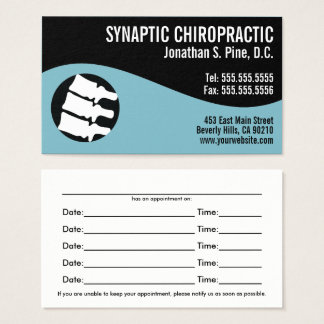 Modern Swirl Spine Logo B Chiropractic Appointment Business Card