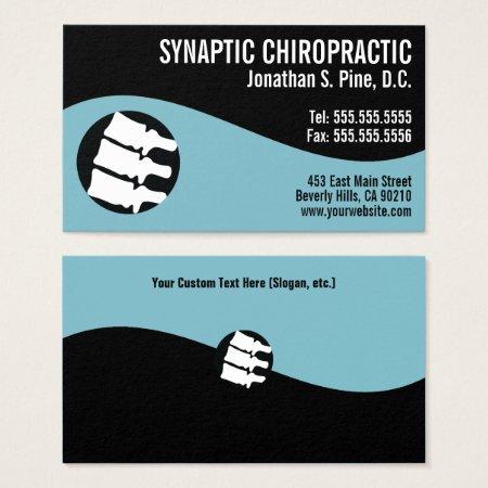 Modern Swirl Spine Logo Blue Chiropractor Business Card