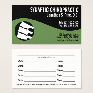 Modern Swirl Spine Logo G Chiropractic Appointment Business Card
