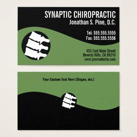 Modern Swirl Spine Logo Green Chiropractor Business Card