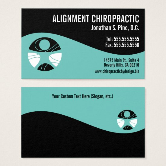 Modern Swirl Teal and Black Logo Chiropractor Business Card