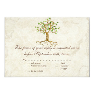 Modern Swirl Tree Roots Leaf Antique Parchment Card