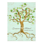Modern Swirl Tree Roots Leaf Antique Parchment Personalized Invite