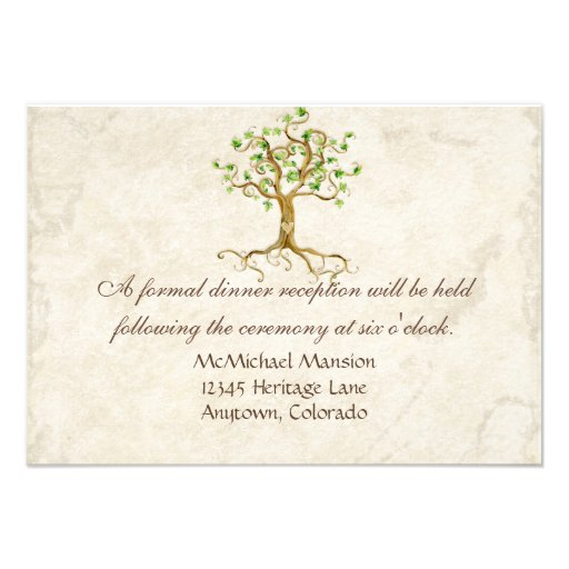 Modern Swirl Tree Roots Leaf Antique Parchment Personalized Invitations