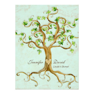 Modern Swirl Tree Roots Leaf Antique Parchment Invitations