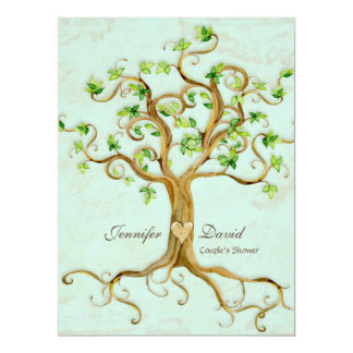 Modern Swirl Tree Roots Leaf Antique Parchment 6.5x8.75 Paper Invitation Card