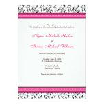 "Modern Swirl Wedding Invitation (Fuschia) 5"" X 7"" Invitation Card"