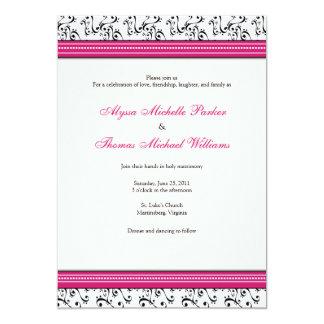 Modern Swirl Wedding Invitation (Fuschia)