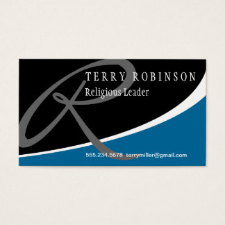Modern Swoosh Monogram R Business Card