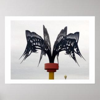 Modern Swordfish Metal Sculpture VA Beach Photo Posters
