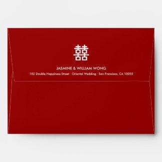 Modern Symbol Double Happiness Chinese Wedding Envelope