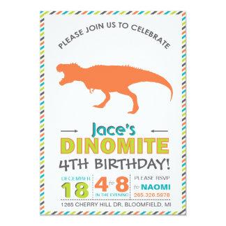 "Modern T-Rex Dinosaur Orange Green Invite 5"" X 7"" Invitation Card"