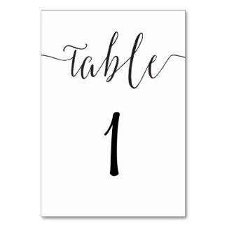 Modern table number card script wedding reception