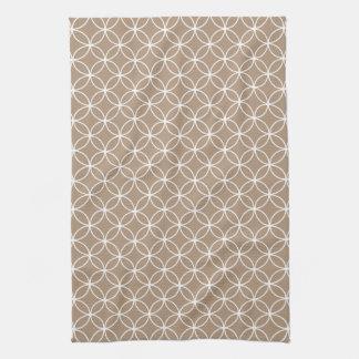 Modern Tan and White Circle Diamond Pattern Hand Towel