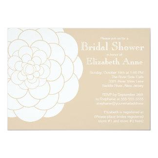 Modern Tan Dahlia Bloom Floral Bridal Shower Card