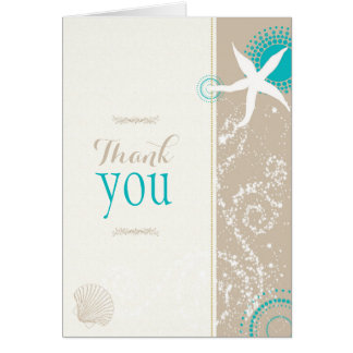 Modern Tan Ivory Beach Wedding Thank You Card