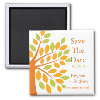 Modern Tangerine Tree Save The Date 2 Inch Square Magnet