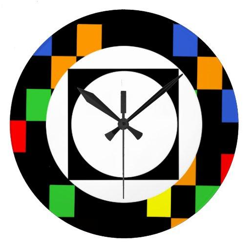 modern target round large wall clock zazzle