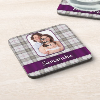 Modern Tartan photo background Drink Coaster