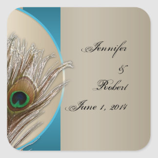 Modern Taupe Aqua Peacock Feather Envelope Seal Square Stickers