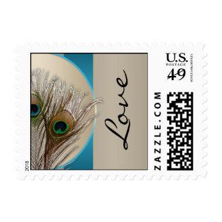 Modern Taupe Aqua Peacock Feather Postage