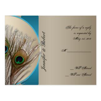 Modern Taupe Aqua Peacock Feather RSVP Postcard