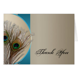 Modern Taupe Aqua Peacock Feather Thank You Stationery Note Card