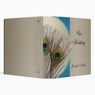 Modern Taupe Aqua Peacock Feather Wedding Album 3 Ring Binders
