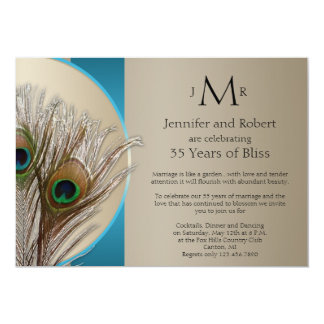 Modern Taupe Aqua Peacock Wedding Anniversary 5x7 Paper Invitation Card