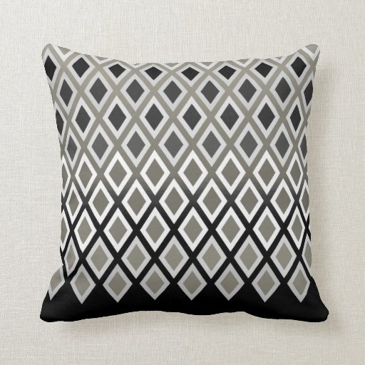 Modern Taupe & Black Diamond Pattern Accent Throw Pillows