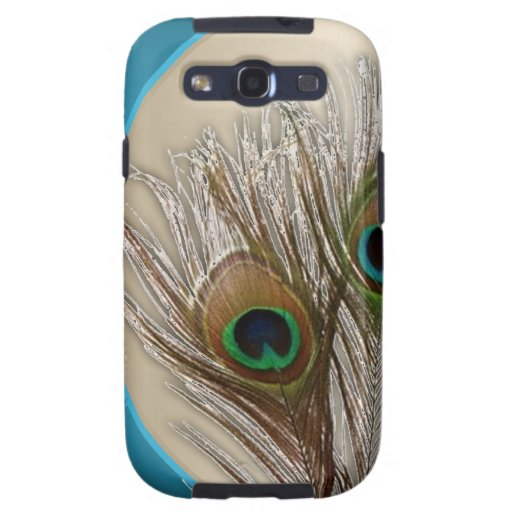 Modern Taupe Peacock Feather Samsung Galaxy S3 Case