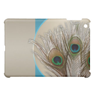 Modern Taupe Peacock Feather iPad Mini Case
