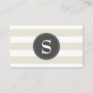 Modern Taupe, White and Gray Monogram Business Card