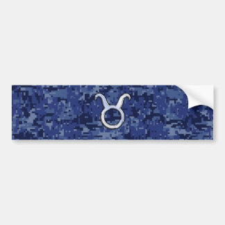 Modern Taurus Zodiac Sign Navy Blue Digital Camo Bumper Sticker