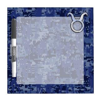 Modern Taurus Zodiac Sign Navy Blue Digital Camo Dry-Erase Board