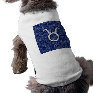 Modern Taurus Zodiac Sign Navy Blue Digital Camo Tee