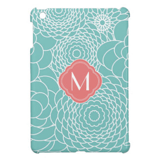 Modern teal abstract flowers with Monogram Cover For The iPad Mini