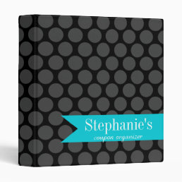 Modern Teal and Black Polka Dot Coupon Organizer Binder