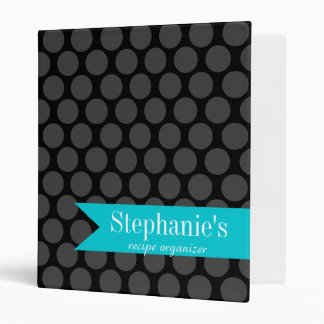 Modern Teal and Black Polka Dot Recipe Organizer 3 Ring Binder