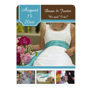Modern Teal and Brown Photo Collage Post Wedding 5x7 Paper Invitation Card