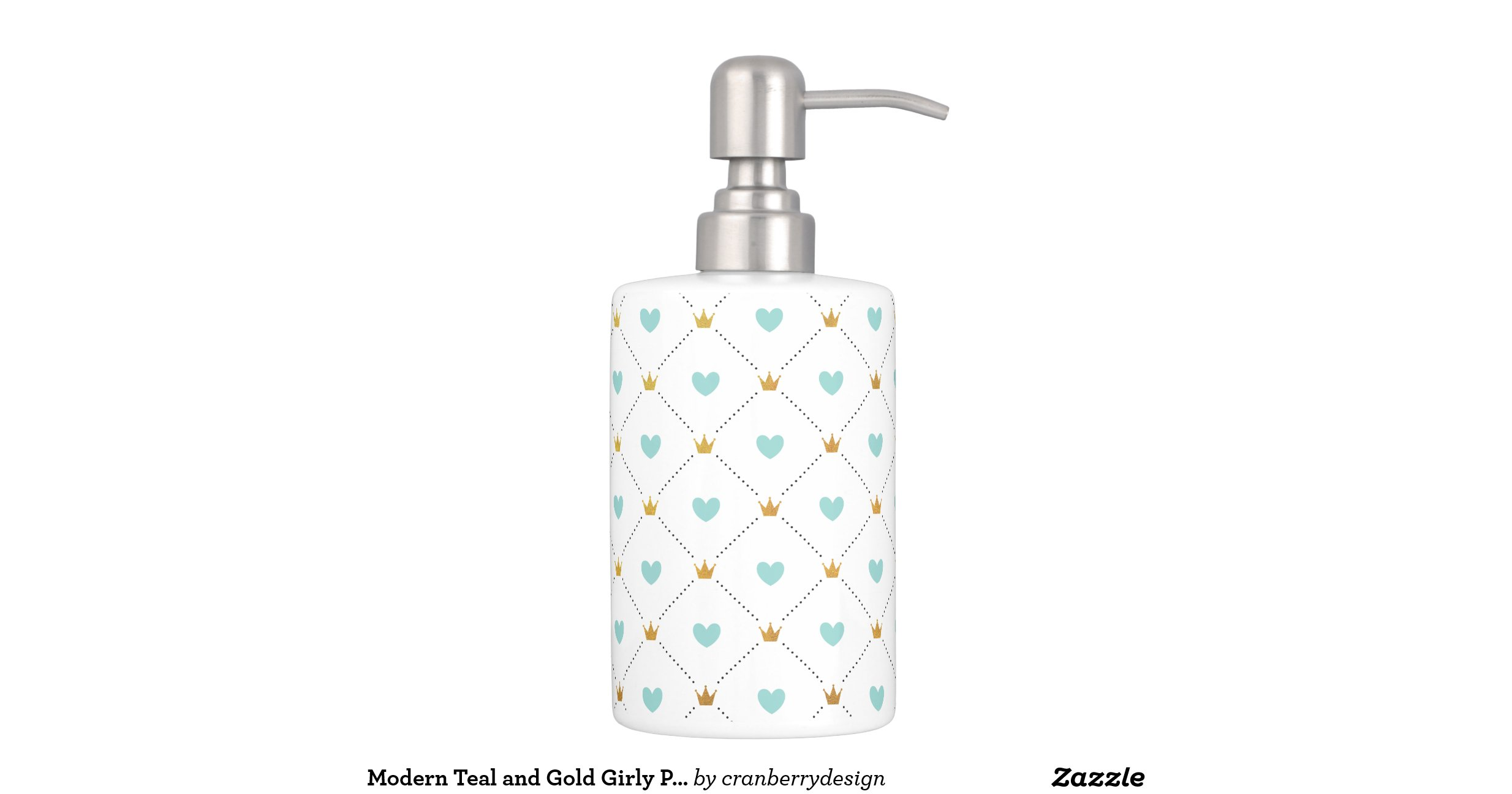 Modern teal and gold girly pattern bath accessory sets for Girly bathroom accessories